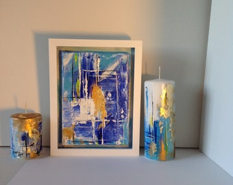 Abstract painting on canvas and 2 hand painted candles.