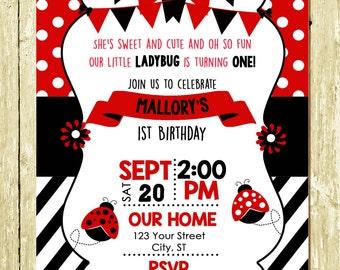 Little Lady Ladybug Printed Birthday Invitations