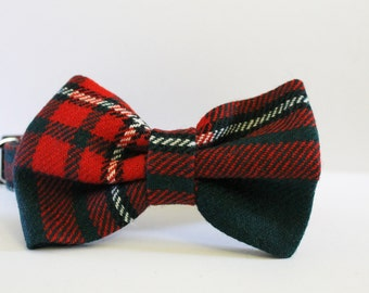Red and Green tartan dog bow tie