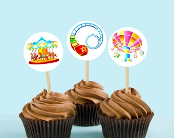 State Fair Rides Printable Cupcake Toppers (Instant Download)