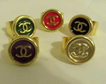 01 of Handmade rings with vintage button in black be re-purposed - More color you choose