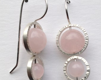Rose Quartz Earrings with Sterling Silver Circles