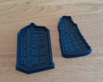 Dr. Who Cookie Cutters , Set of Two , Dalek and Tardis ,