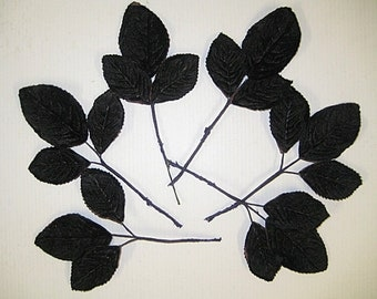 Black Velvet Leaves for millenery ,costume supplies, wreaths, bouttoniere