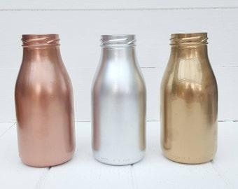 Metallic Bottles Copper, Silver or Gold in a choice of sizes - Home Decor, Wedding Decor