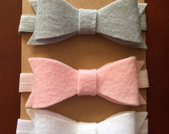 Felt head bands. Baby pink, gray, white