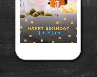 Snapchat Filter Birthday, Snapchat Geofilter, Birthday Geofilter, Snapchat Birthday, Snap Filter, Birthday Filter, Circles, Gold, Blue