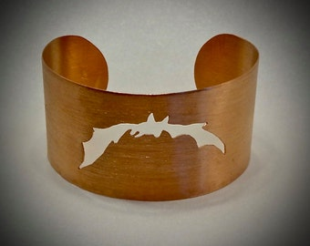 "Wide copper cuff -  Bat bracelet - Satin finish - 1 3/4"" by 6"" around"