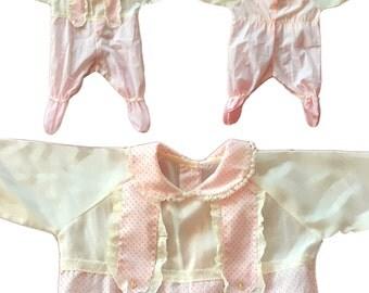 Vintage Baby Pink Polka-Dot Trompe L'oeil Onsie