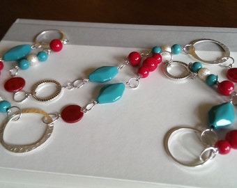 Long Red and Teal Beaded Necklace - Handmade