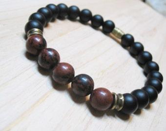 Mens Bracelet-Mahogany Obsidian Bracelet-Matte Black Onyx Bracelet-Energy Bracelet-Protection Bracelet-Spiritual Bracelet-Gemstone Bracelet