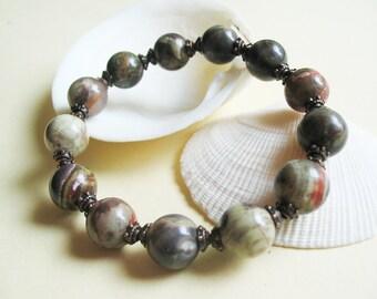 Gemstone Bracelet-Boho Bracelet-Ethnic Bracelet-Jasper Bracelet-Copper Bracelet-Stretch Bracelet-Earth bracelet-Ethnic Jewelry-Gift for Her