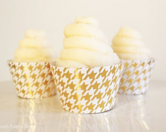 Gold Houndstooth Cupcake Wrappers, Gold Cupcake Wrappers, Modern Cupcake Wrappers, Wedding Cupcake Wrappers, Pretty- Set Of 6,12,16,24+