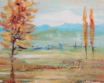 Vintage field landscape oil painting signed