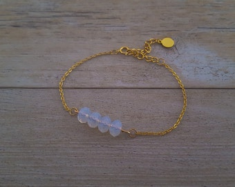 Opal Bracelet, Gold plated and Swarovski crystals, hand made