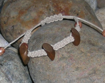 Adjustable Natural Hemp Macrame Tribal Bracelet with wooden beads - Free Shipping