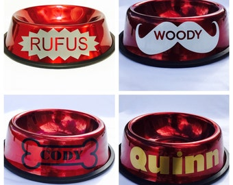 Personalized Red Dog Bowl with Name-Custom Dog Bowl-10 Fonts-4 Designs-Dog Dish-Personalized Pet Bowl