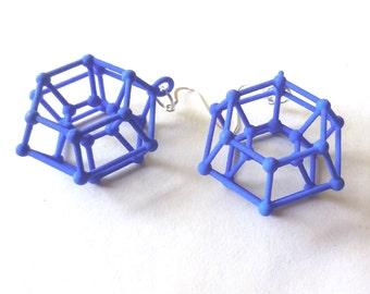 Donutonium -- Blue 3D Printed Earrings