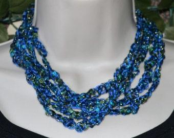 Blue multistrand Numei Crocheted Choker