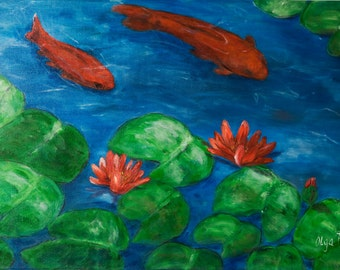 Art canvas Koi fish art painting Unique gifts Housewarming gifts home decor modern wall canvas decor red fish blue pond art paintings