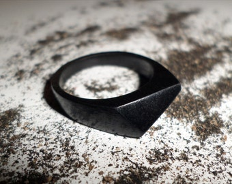 Ebony ring-Black ring-Triangular plan ring-Black Wood ring-Wood Jewelry-Ebony Jewelry-Gift idea-Handmade ring-Gift box-Natural wood ring.