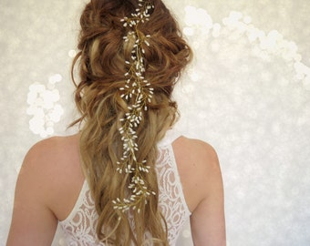 Wedding Hair vine, Babies breath, boho bridal crown, Wedding Hair piece, Bridal head piece, flower crown, floral hair piece