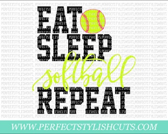 Eat, Sleep, Softball, Repeat SVG, DXF, EPS, png Files for Cutting Machines Cameo or Cricut - Softball Svg, Sports Svg, Softball Shirt