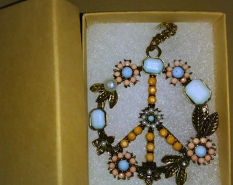 vintage peace sign necklace with additional necklace FREE