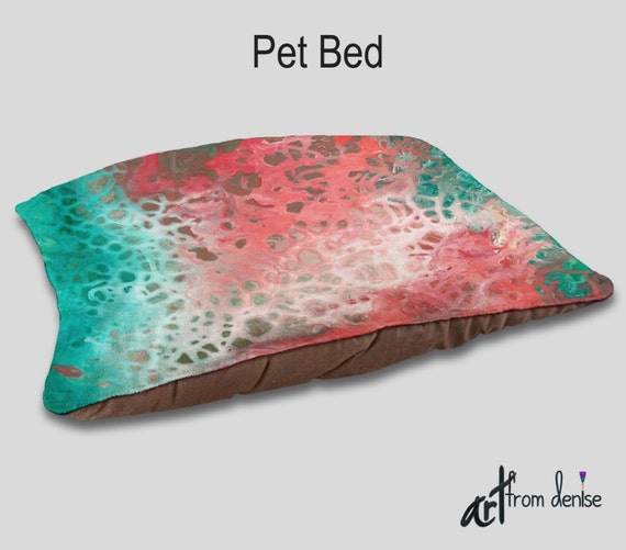 Teal Decorative Bed Pillows : Decorative Dog bed Teal aqua coral gray Pet pillows