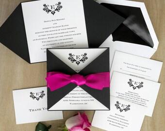Stylish Initial Invitation with Folded Wrap - Thermography Wedding Invite - Custom Wedding Invitation Suite - AV1617