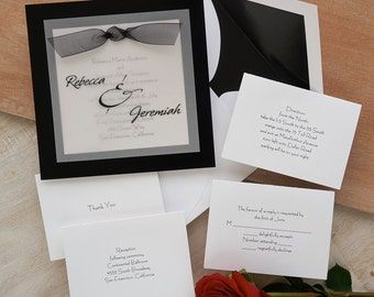 Sheer Classic Layered Invitation Set - Raised Ink Wedding Invite - Formal Wedding Invitation Suite - Custom Wedding Invitation - AV646