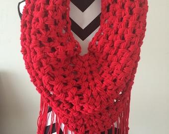 Crochet Red Fringe Scarf