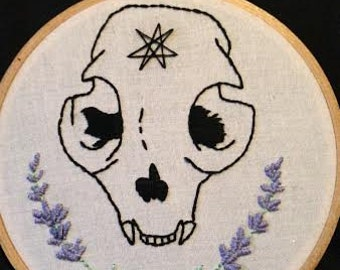 Lavender and Bobcat Skull embroidery