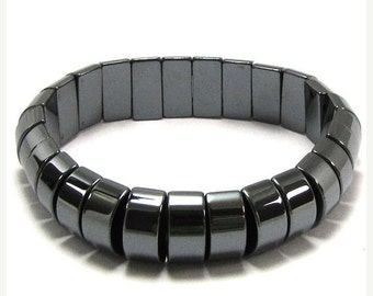 "10% SALE 14mm hematite bead stretch bracelet 7"" 15598"