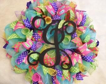 Summer Wreath, Monogram wreath, summer monogram wreath, spring wreath, colorful wreath, bright wreath, wreath, summer decor