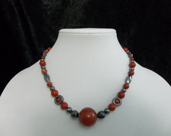Red Agate Hematite Necklace #18