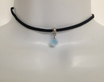 Black Choker   Blue Swarovski   Necklace or Choker