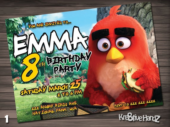 Angry Birds Birthday Party Invitation customized printable invite for boy or girl of any age + Free Thank You Card