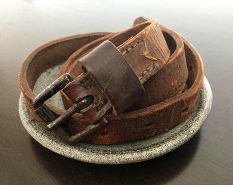 Antique leather belt