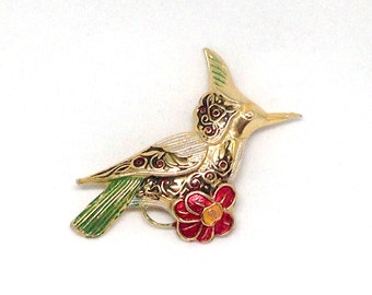 1 Alluring Signed Damascene Spain Bird Gold Tone Vintage Estate Brooch