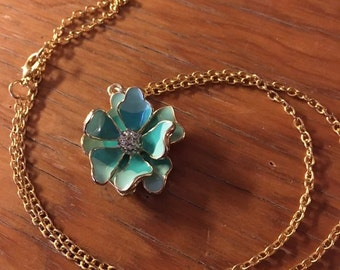 Teal 3D Flower Necklace