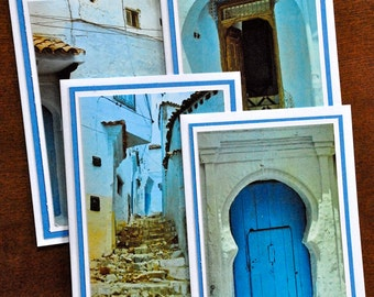 Set of 4 greeting cards- Doorways of Morocco-Chefchaouen