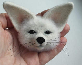 Needle felted brooch Fennec Fox wool white Felt Brooch Accessory Animal brooch jewelry Original gift for woman teen Eco-materials