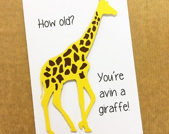 Funny Giraffe Papercut Hand Made Card - Birthday, Blank - Greetings Card - Can Be Personalised