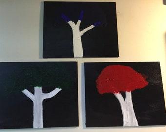 Set of Three Tree Paintings
