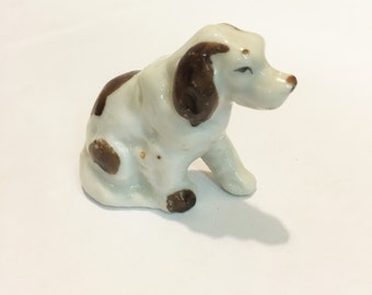 Vintage Ceramic White Dog with Brown Spots  #28