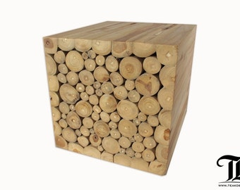 Reclaimed Branch Cube Ottoman