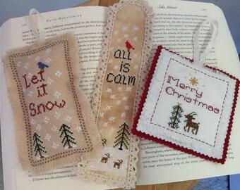Cross Stitch Patterns Set, Winter Christmas Set, Cross Stitch, Primitive Stitching, Winter Cross Stitch Woodland Set