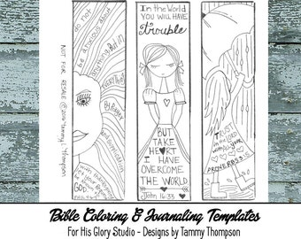 Trust Him #6 - bible journaling, black and white, PDF, 3 printable sketches, bookmarks, coloring, bible verses