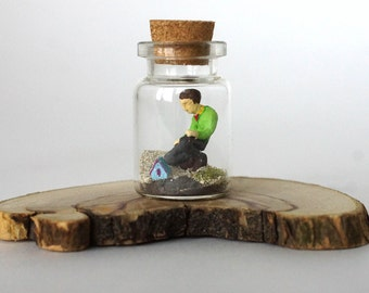 TinyLand #29~Giant man~Glass Bottle,Miniature Man,Personalised Gift, Nature Bottle, Handmade,Tiny people,Small bottle,Miniature house